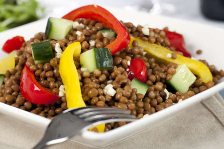 Close up of lentil salad with bell peppers and cucumber.