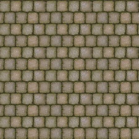 Tiling stone sidewalk texture with moss growing between bricks. photo