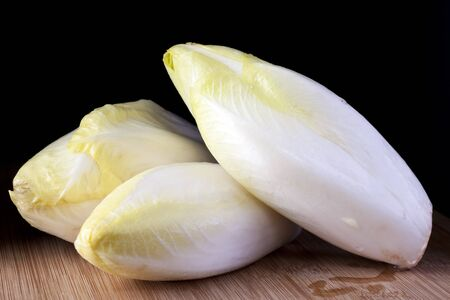 Fresh raw chicory with dark background. Stock Photo