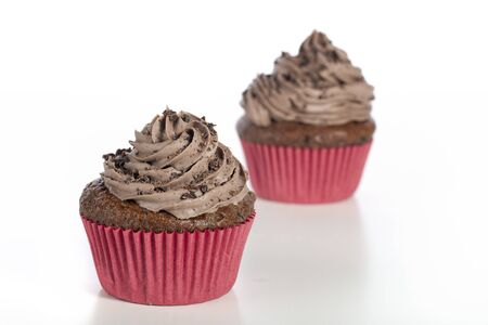 Two chocolate cupcakes, with shallow depth of field, focus on front cupcake.  Isolated on a white background photo