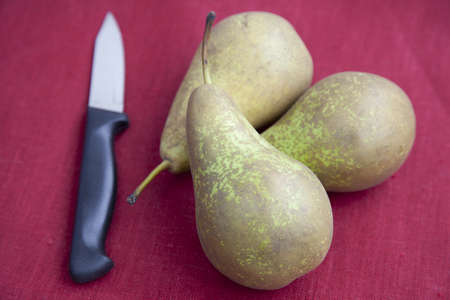 paring knife: Still life: pears on red linen with paring knife.
