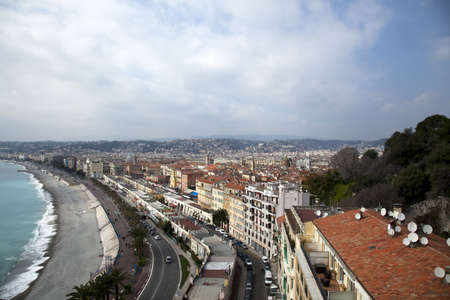 City view and Mediterranean sea in Nice France. photo