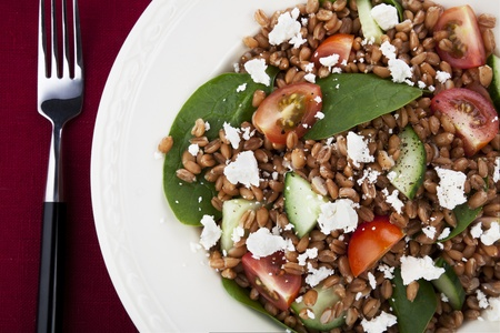 spelt: Fresh salad with spelt wheat berries, spinach, tomatoes, cucumbers and feta cheese.