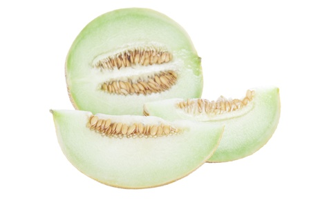Slices of honeyduw melon with white background