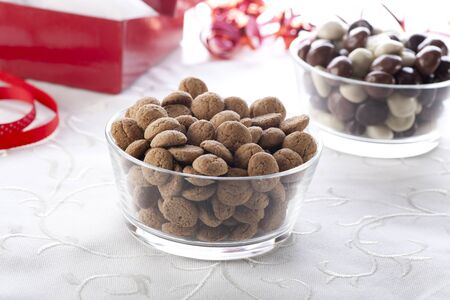 Mini spiced cookies eaten in Holland on the 5th of December to celebrate Sinterklaus. photo