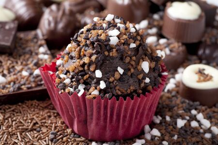 Chocolate cupcake covered with chocolate candies. photo