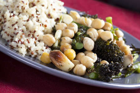 chick pea: Vegan broccoli and chick pea dinner with roasted garlic and quinoa bulgar mixture