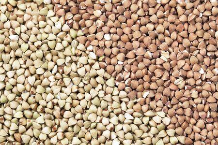 kasha: Untoasted and toasted buckwheat or kasha as a background Stock Photo