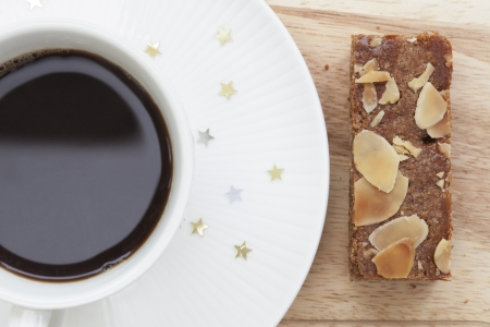 A coffee break with almond filled speculaas cake Stock Photo - 15635922