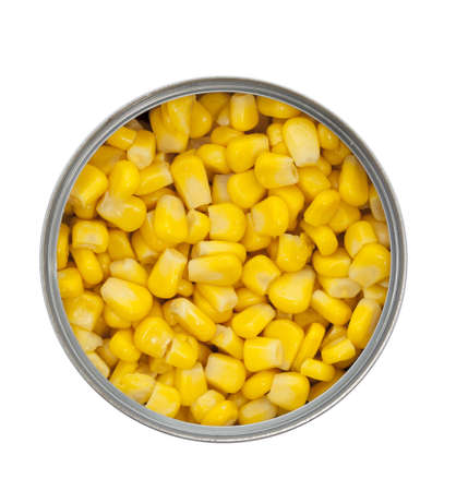 Can of sweet corn from directly above, isolated on a white background  photo