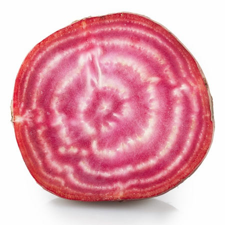 Close up of Candy beetroot on white background