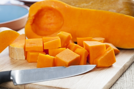 butternut: Butternut squash, cut into cubes and ready for cooking