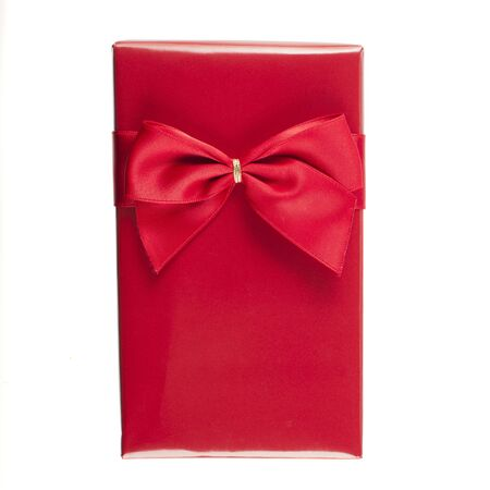 wrapped up: Gift wrapped with red paper and red ribbon in white background