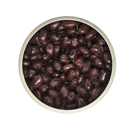 Can of black beans isolated from above. Stock Photo - 17444997