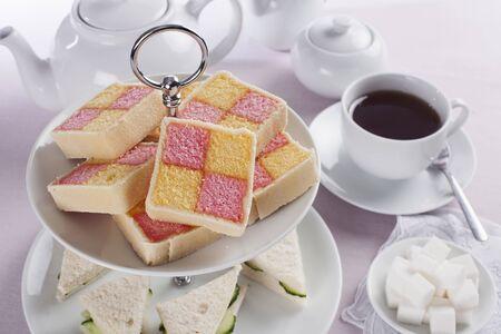 afternoon tea: Battenberg cake for afternoon tea