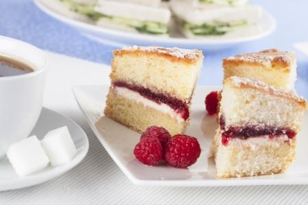afternoon tea: Victoria sponge cake with raspberries for afternoon tea.