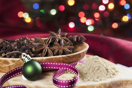 christmas ground: Christmas cooking spices, star anise, cloves and ground ginger.