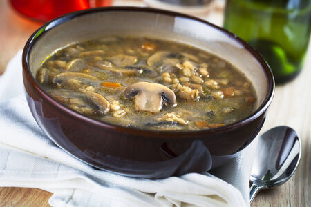 Bowl of homemade mushroom and barley soup  photo