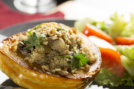 Winter Squash stuffed with quinoa, mushrooms and onions