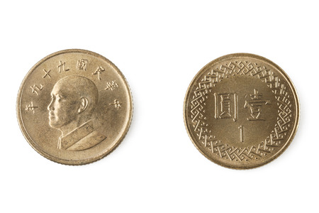 Ein Yuan Münze taiwanese Standard-Bild - 25921674