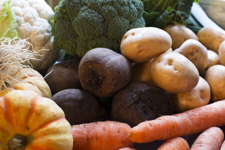 Winter vegetables including beetroot, carrots and potatoes