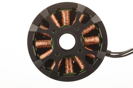 windings: Brushless motor isolated on white.
