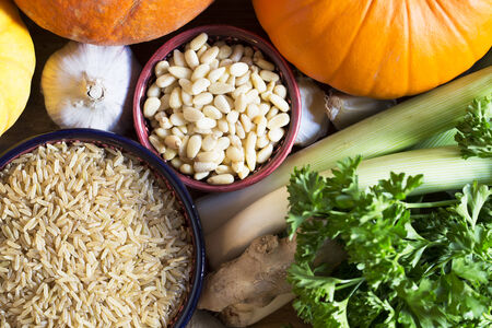 healthy grains: Brown rice and pine nuts other ingredients, healthy eating still life