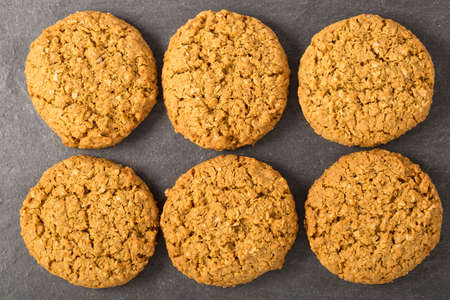 directly above: Six oatmeal cookies from directly above