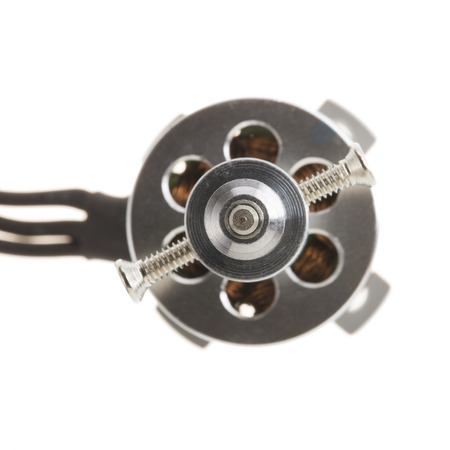 windings: Small Brushless motor for model airplane or drone with propeller mount.