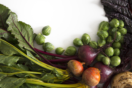 rutabaga: A collection of winter vegetables including beets, brussels sprouts, chard and rutabaga, with copy space Stock Photo