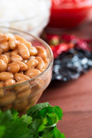 pinto beans: Pinto beans and other ingredients for Mexican cooking.