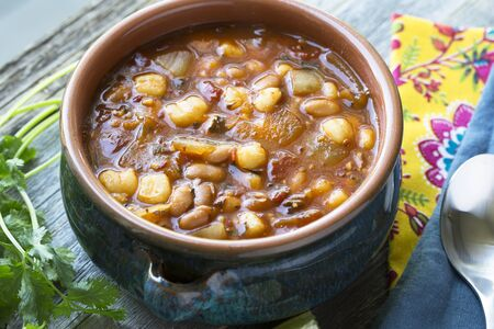 pinto beans: Vegan style mexican posole with hominy and pinto beans. Stock Photo