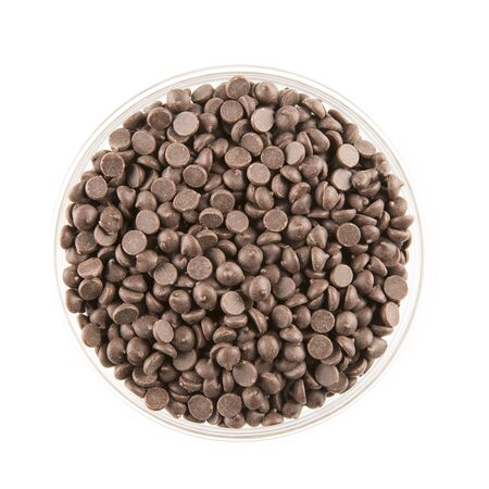 semisweet: Chocolate chips in a glass bowl, isolated on white and viewed from directly above.