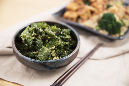 Stir fried kale with ginger and garlic