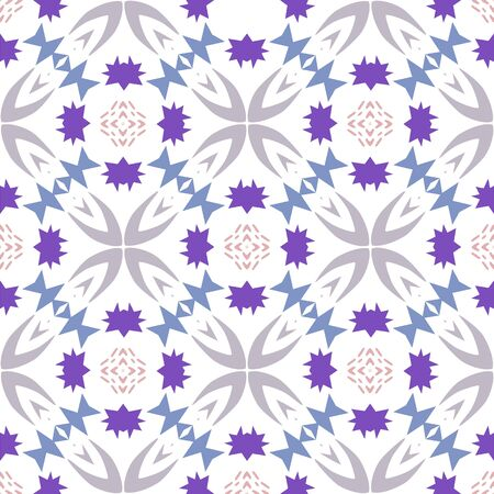 Funky vector geometric repeating pattern with purple, pink and grey shapes on a white background. Illustration