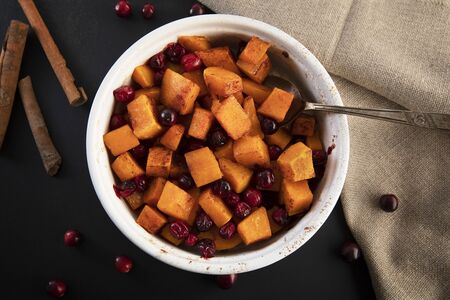 Butternut Squash and Cranberries, Flat Lay