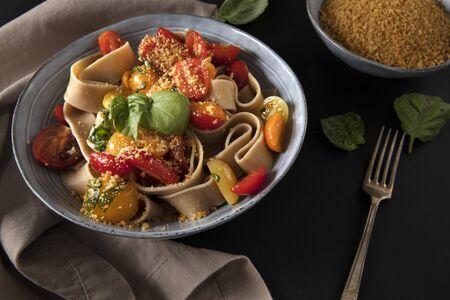 Whole Wheat Pappardelle Pasta Standard-Bild