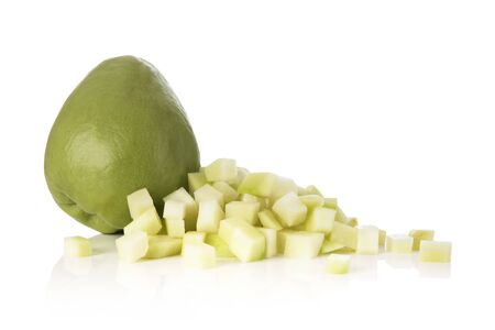 Whole and Cut Chayote Squash