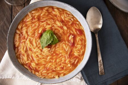 Orzo Soup with Basil Flat Lay