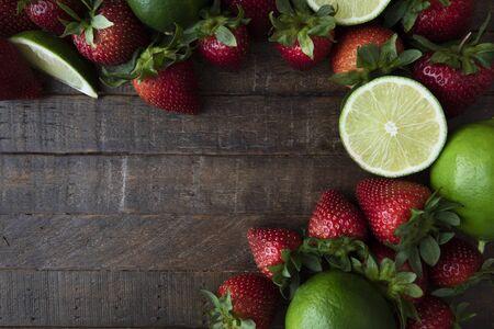 Flat Lay with Fresh Fruit Standard-Bild