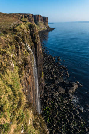 Kilt Rock and Mealt Falls Viewpoint, Highland, Isle of Skype, Scotland, UK. vertical. cliff view