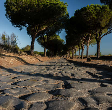 The Appian way, Via Appia Antice in the early morning, rome italy