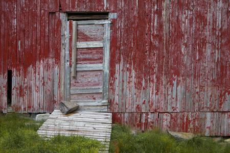 red barn: Door in red barn Stock Photo