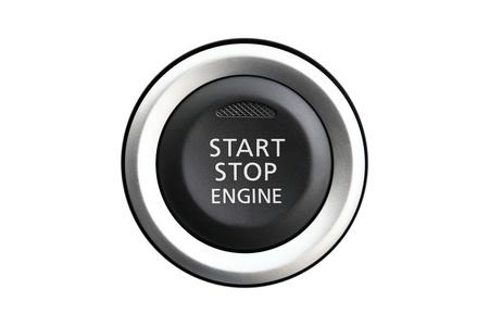 Auto motore start-stop isolato su sfondo bianco Archivio Fotografico