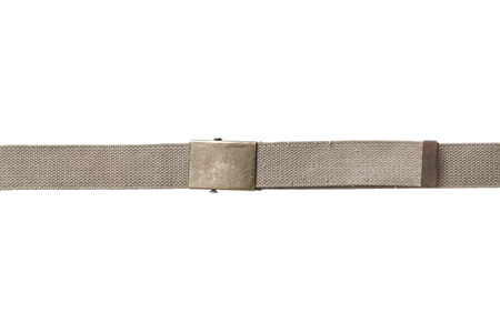 Light brown fabric canvas belt isolated on white background photo