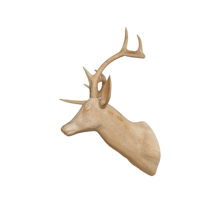 Wooden deer head isolated on white background(Decoration) photo