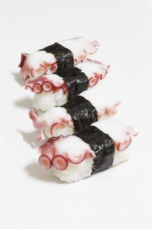 Tako sushi isolated on white background