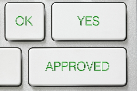 approved button: OK yes approved button on keyboard
