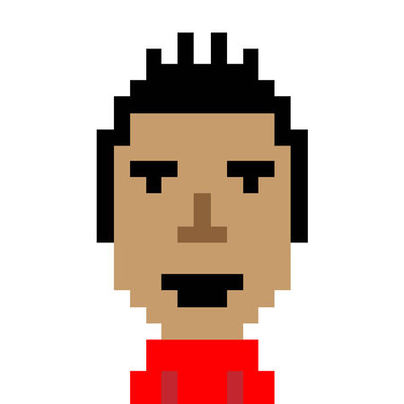 pixelart: Man red shirt smile emoticon pixel-art character