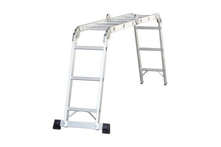 reachability: Aluminum stair isolated on white background Stock Photo